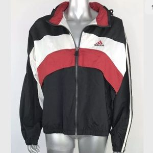 Vintage 90s Adidas Jacket Windbreaker Hood Medium